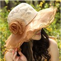 2016 Summer Women Floppy Anti UV Floral Pattern Chiffon Layer Kentucky Derby Hat Removable Large Brimmed Sunscreen Beach Caps
