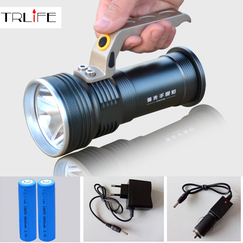 Long Range Searchlight Flashlight Led Flashlight Cree Rechargeable Powerful Flash Search Light Torch +18650 Battery +Charger gift box cree q5 high power led flashlight waterproof searchlight rechargeable patrol lights 18650 battery charger outdoor light