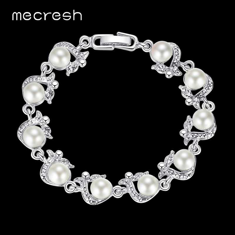 Mecresh Perfectly Round Simulated Pearl Bracelets for Women Silver Color Handmade Wedding Friendship Pulseras Jewelry MSL236