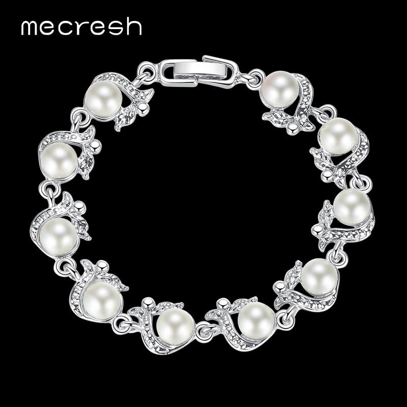 Mecresh tökéletesen kerek szimulált gyöngy karkötők nőknek ezüst színű kézzel készített esküvői barátság Pulseras ékszerek MSL236