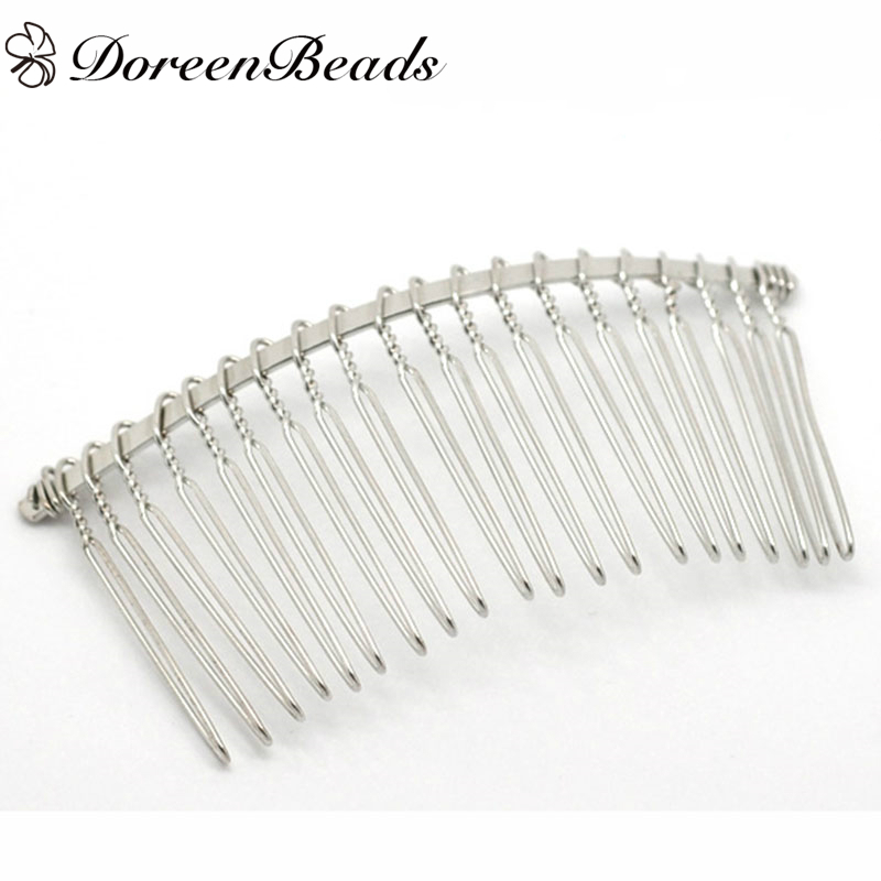 Doreenbeads Hair-Clips Comb-Shape Silver-Color 10pcs Dull B17122 3-1/8-