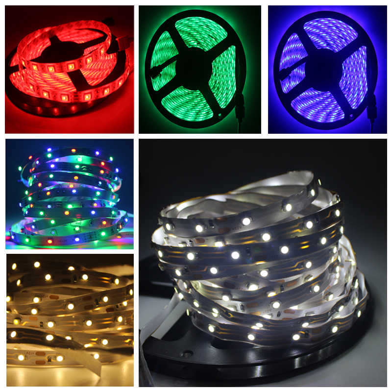 DC 12 V Volt Strip Led Light Tape 2835 RGB Waterproof 5 M 12V DC 60LED/M RGB Led Strip Tape Lamp Diode Flexible TV Backlight