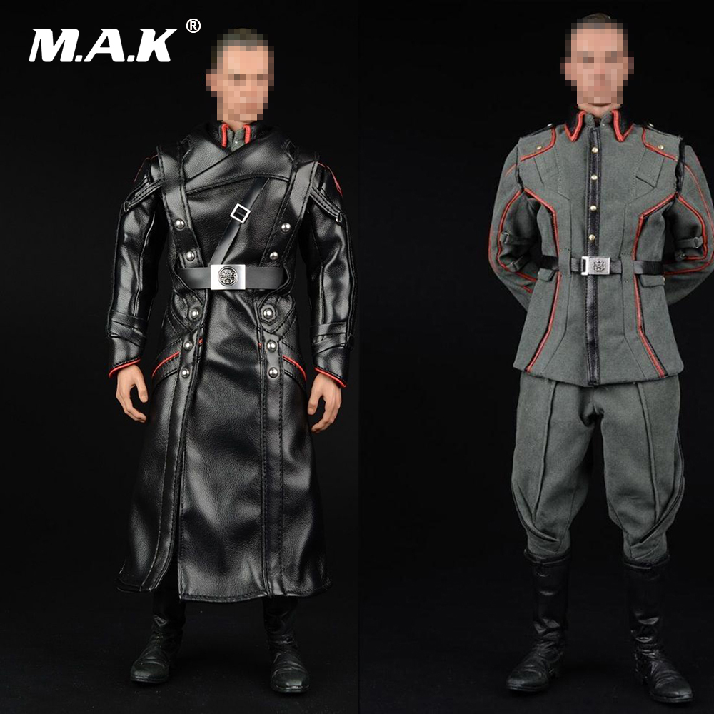 1/6 Male Full Set Soldier Uniform Leather Overcoat & Uniform Coat Suit & Boots Without Body and Head for 12'' Action Figure 1 set male