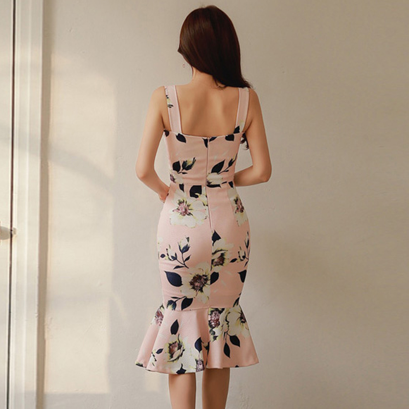 2019 summer new ladies sexy backless tight sling print bag hip long section ruffled dress female