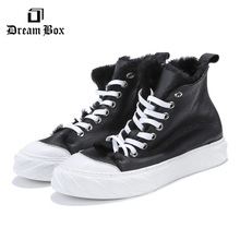 Mens High-top Shoes Fur Plus Velvet Warm Cotton Leather Flat Big Head Winter