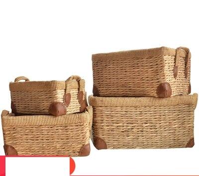 Grande herbe rotin panier de rangement pour bureau panier de rangement snack jouet tiroir lit boîte de rangement armoire panier de rangement