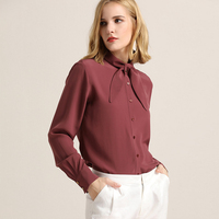 100 Silk Blouse Women Shirt Elegant Simple Design Lace Up Neck Long Sleeves 2 Colors Office