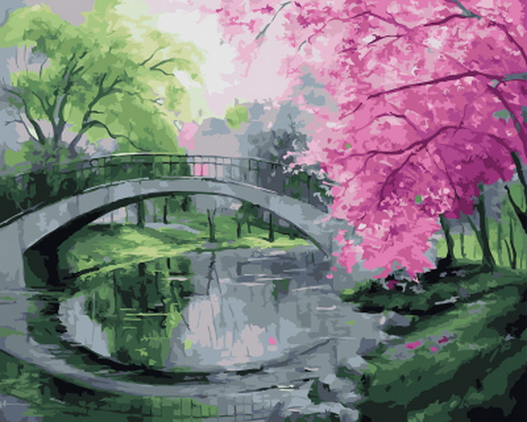 Frameless oil painting by numbers paint by number for home decor oil picture painting 5065 bridge