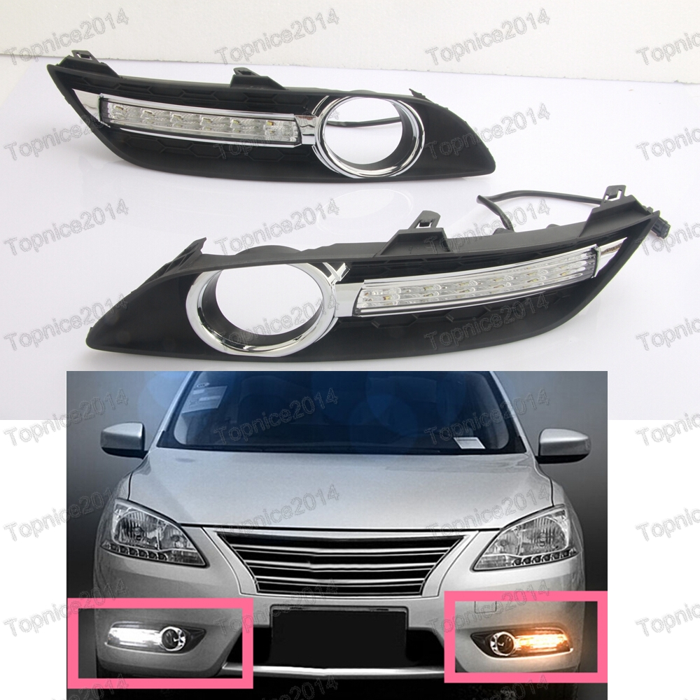 1Pair White LED Car DRL Daytime Running Lights With Fog Lamp Hole Covers for Nissan Sylphy 2013-2015