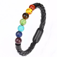 Black Leather Stainless Steel Natural Stone Bracelets