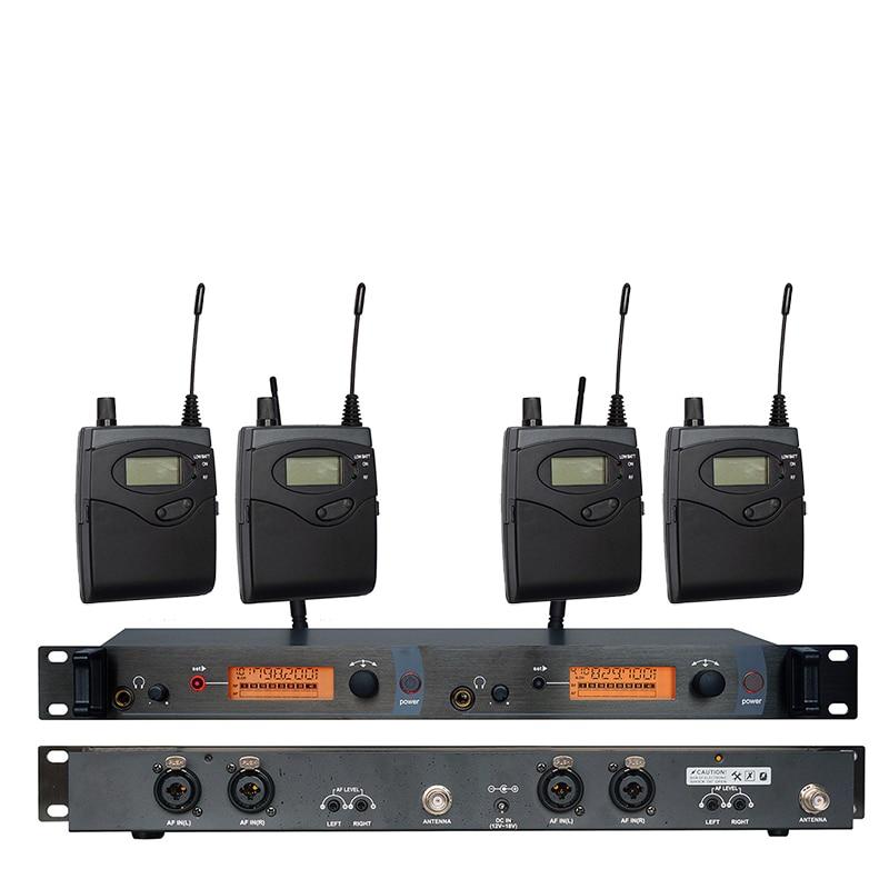 In Ear Monitor di Sistema di SR2050 Doppio trasmettitore Senza Fili di Monitoraggio Professionale per la Prestazione Della Fase 4 ricevitori