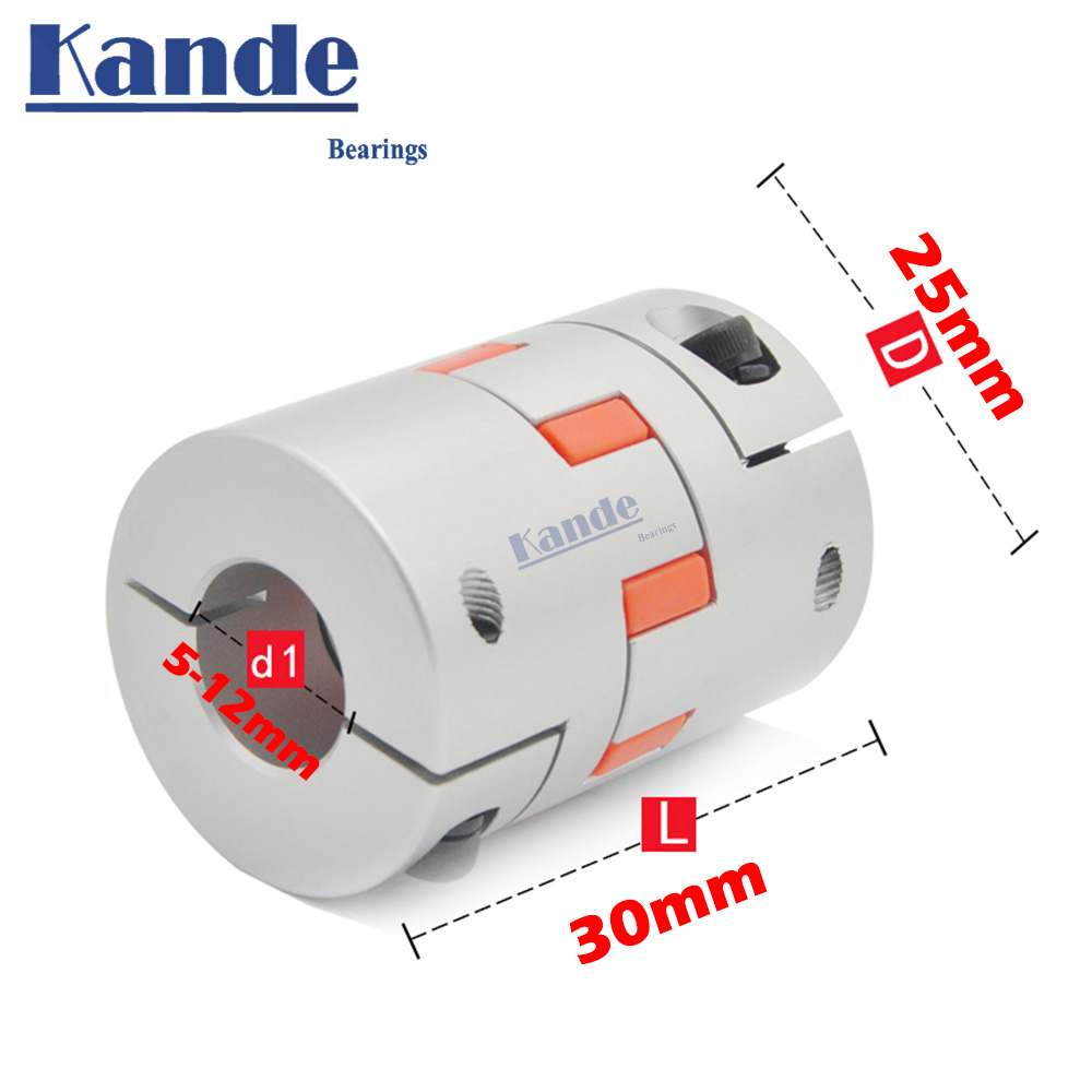 D25L30 Coupler D25 L30 three Jaw Aluminium Plum Flexible Shaft Coupling Motor Connector Flexible Coupler 5/6/6.35/8/10/12mm image