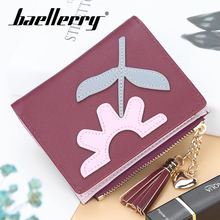 цена Baellerry Flower Patch Tassel Zipper Women Wallet 5 Color PU Leather Clip Short Wallet Coin Pocket Card Photo Holder Hasp Wallet в интернет-магазинах