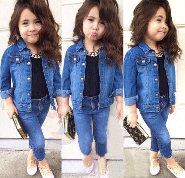 4c80035916 2015 new girls clothing sets long sleeve denim jacket+jean pants+tops t  shirt toddler baby girls clothes children outfit autumn