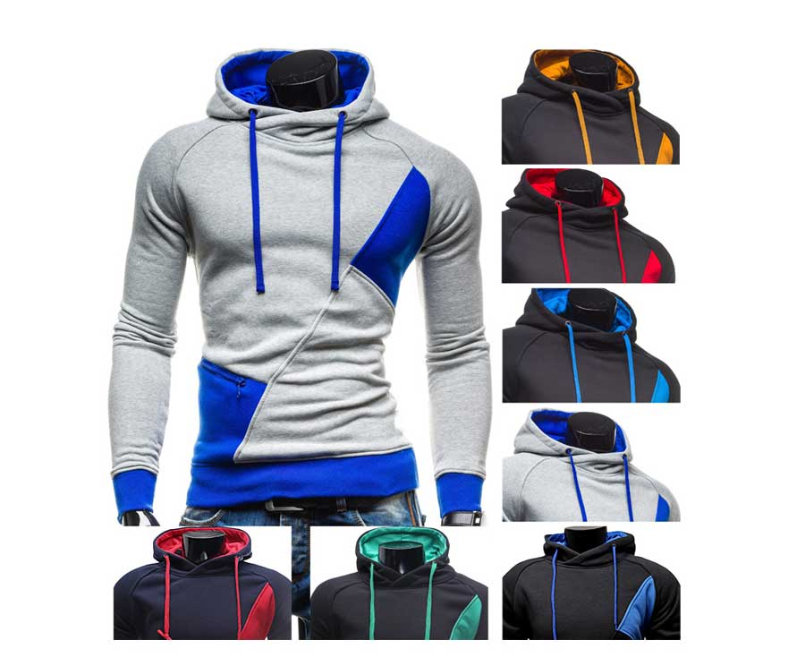 spring and autumn new hoodie men's matching color patchwork jumper Korean version of men's coat 14