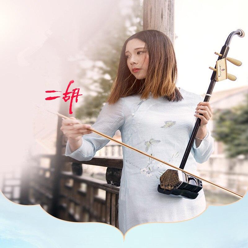 Chinois Erhu Deux Cordes Violon Violon Ronde Hexagonale Pôle Forme Avec Arc/Rosin/Tuner/Pont Musical Instrument