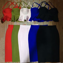5 Colors Top Quality HL 2 Pieces Set Off The Shoulder Cute Knee Length Rayon Bandage Dress Party Bodycon Dress
