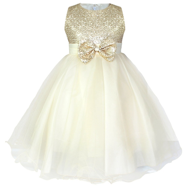 Детское платье до колена с блестками и цветочным узором для девочек возрастом от 2 до 14 лет Детские Вечерние платья на свадьбу, бальное платье, платье принцессы на выпускной, торжественное платье для девочек - Цвет: Champagne