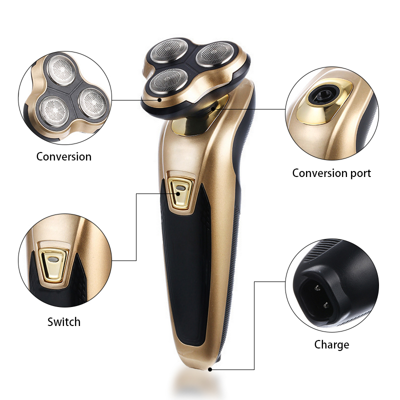 Men Shaving Machine Whole Body Washable Electric Shaver Razor Beard Trimmer Rotary Wet/Dry Rechargeable