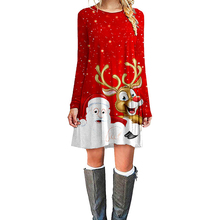 New Red Christmas Dress Women Winter Dresses 2019 Print Mini Long Sleeve O-neck Clothes