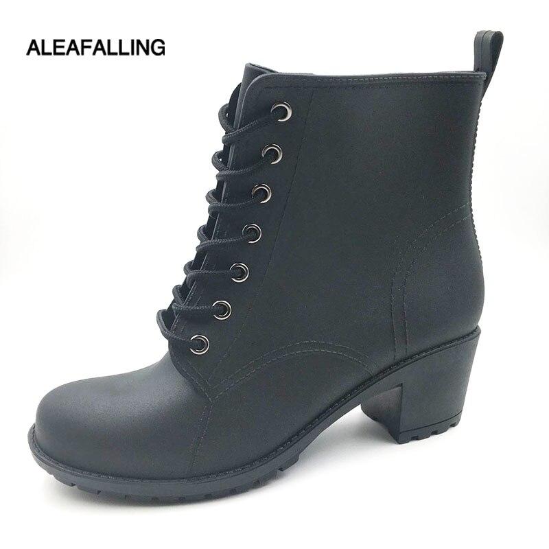 Aleafalling klassische regen stiefel flache wasserdichte schuhe frau wasser gummi lace up ankle reife stiefel 5,5 cm ferse botas w111