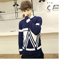 2016Winter new Korean version of the trend of men's sweater Slim College wind double hit color pullover