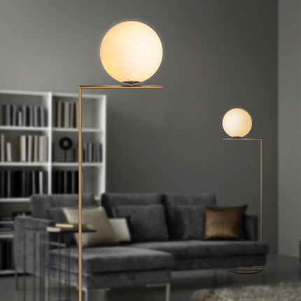 Creative brief gold floor lamps glass ball stand lamp for living ...