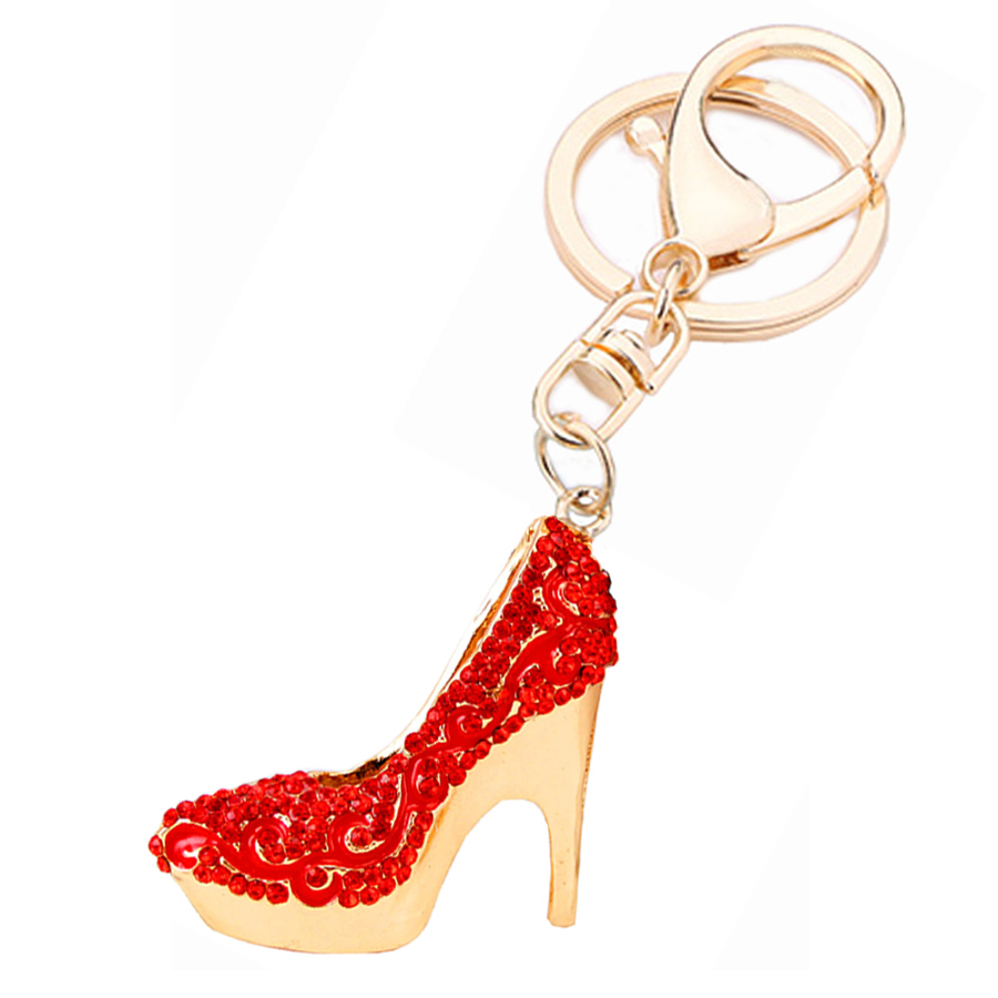 Creative Rhinestone High-heeled Shoes Keychain Novelty Car Pendant Keyring Bag Charms Ke ...