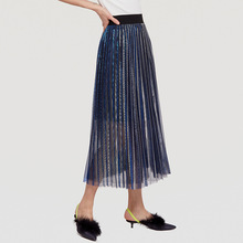 AcFirst Blue Purple Women Skirts Fashion High Waist Pleated Mid-Calf Length Skirt All-match Mesh Clothing Gradient Plus Size