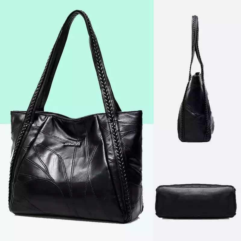 adde02b96452 Women Tote Bag Genuine Sheepskin Patchwork Casual Hand Bags Big ...
