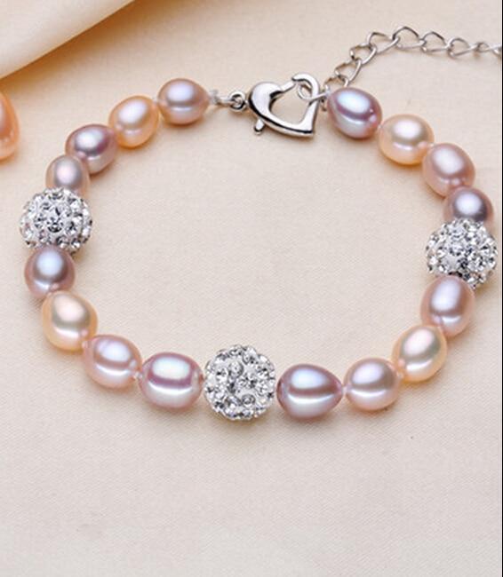 ZCD  Bracelet  520+++7-8mm strong rice type near flawless Pearl Bracelet