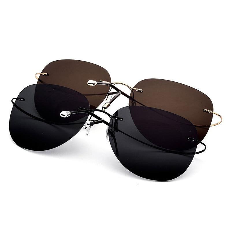 Image 5 - HDCRAFTER 9g Ultralight Rimless Sunglasses Titanium Men Brand Designer Frameless Polarized Sun Glasses Women Screwless Eyewear-in Men's Sunglasses from Apparel Accessories