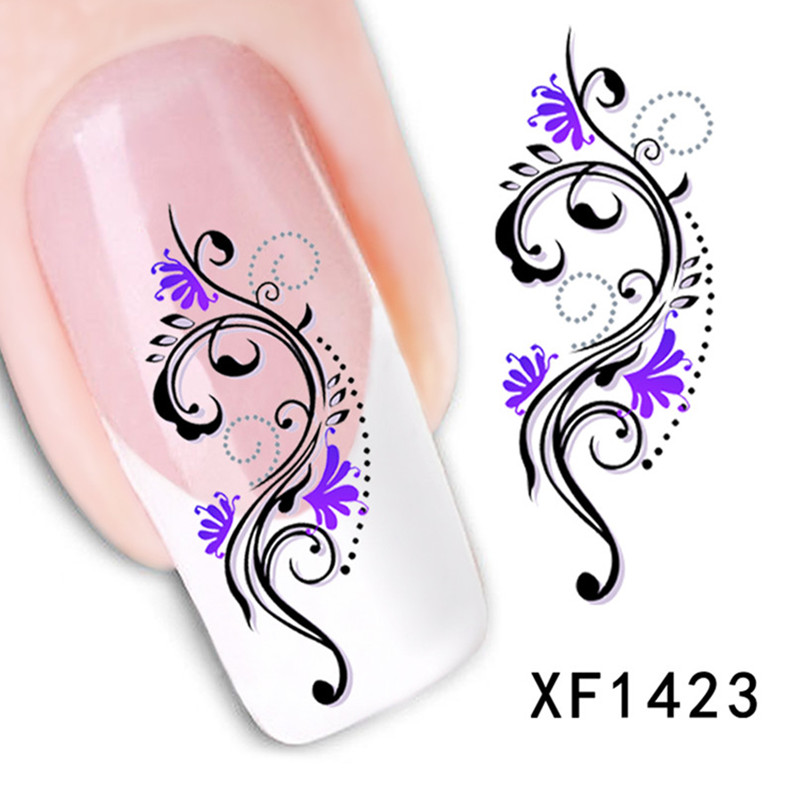 New Black Flower Design Nail Art Stickers Nails Wrap Water