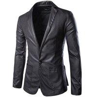 Новый черный длинный Для мужчин S кожа Пиджаки для женщин Повседневное Slim Fit Босоножки из искусственной PU кожи Для мужчин бренд одной кнопки ...