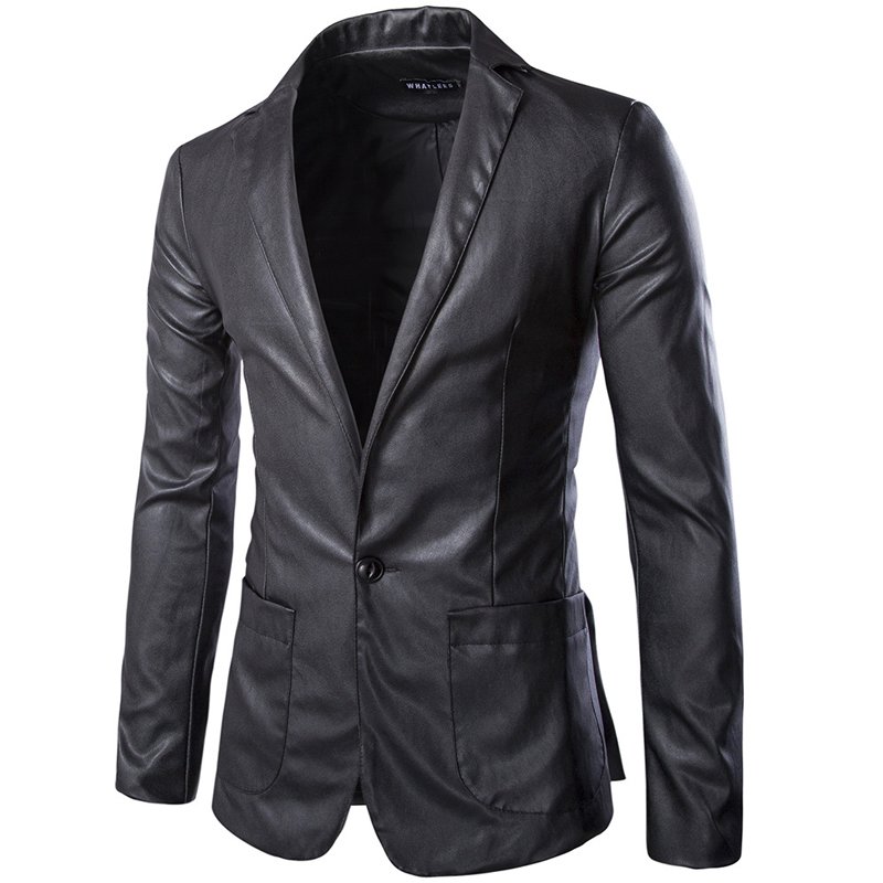 New Black Long Mens Leather Blazers Casual Slim Fit PU Leather ...