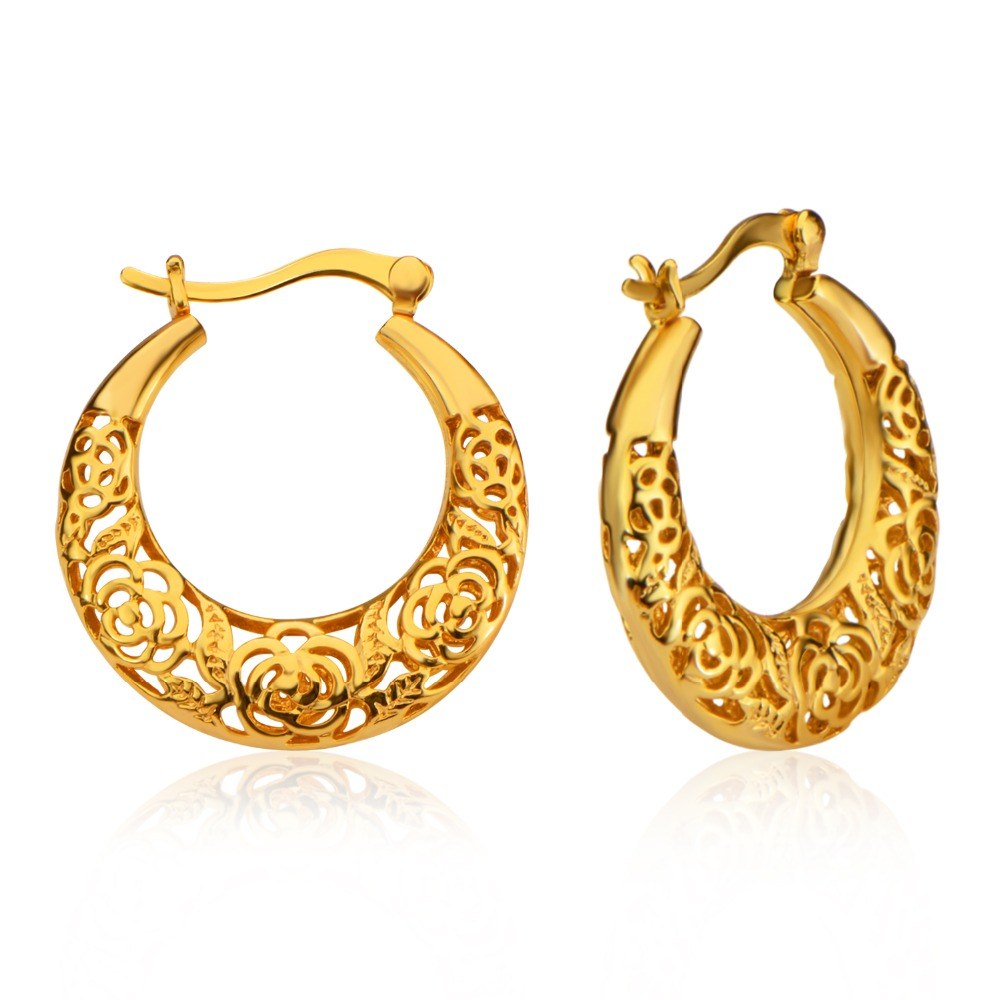 Beautiful Women Drop Earrings Luxury Gold Color India Jewelry Whole Hollow Out Party Gift E10102 In From