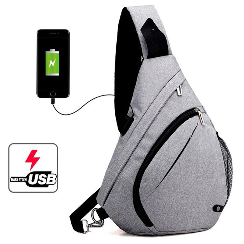 Mochila Shoulder-Backpacks-Bag Rucksack-Charging Chest Crossbody Teenagers Fashion School Usb