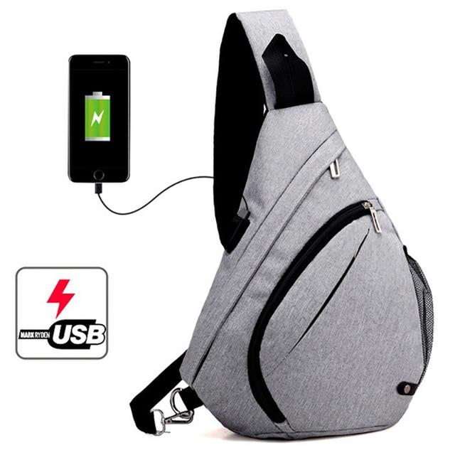 Men s Crossbody Rucksack Charging Bag School USB Teenagers Fashion Men Shoulder Backpacks Bag Backpack Male Chest Boys Mochila