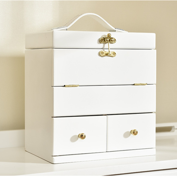 Solid wood cosmetic storage box wooden large white cosmetic case