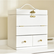 Solid wood cosmetic storage box wooden large white cosmetic case with mirror cover Korea top Make-up dressing box  jewelry boxes