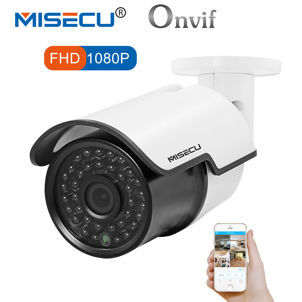 MISECU Full HD IP Camera 1080P Outdoor Security Camera 2MP Metal Bullet CCTV Camera IP POE 20fps ONVIF Waterproof P2P XMeye золотой браслет ювелирное изделие 27363
