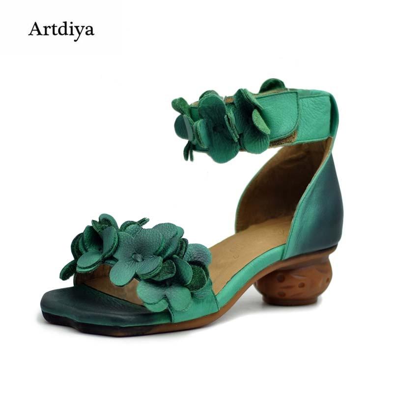 Fait Véritable Tendance Bout De Chaussures Ouvert Épais Fleur Green Vintage National 21915l Femmes Cuir Talons Main En Sandales dxIp6wA0q
