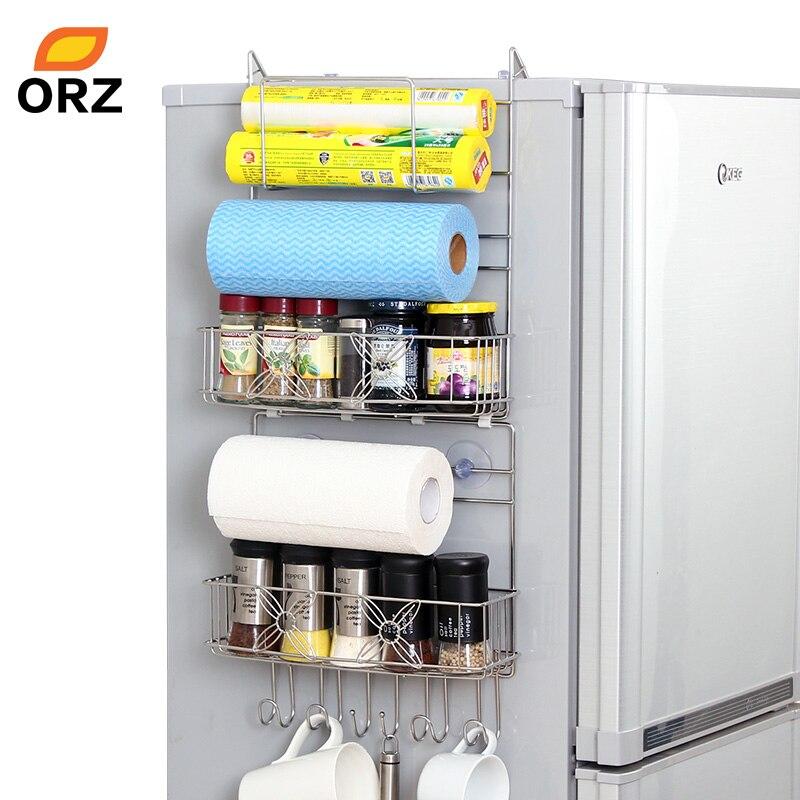 organizador de cocina y ba/ño soporte almacenamiento pared lateral soporte frascos especias Estante lateral refrigerador rollo papel de seda blanco-25x9.5x65 cm estante colgar en la nevera