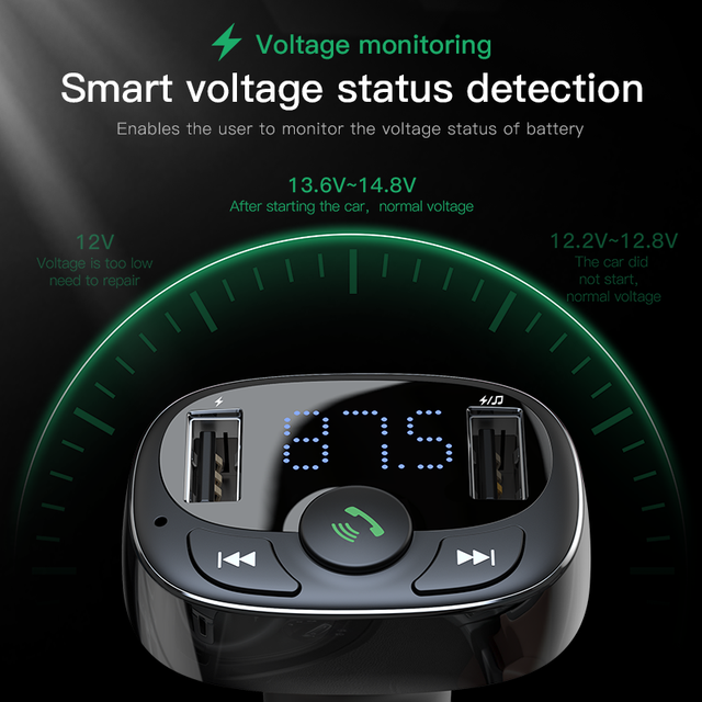 Baseus FM Transmitter Aux Modulator Wireless Bluetooth Handsfree Car Kit Car Audio MP3 Player Quick Charge Dual USB Car Charger 4