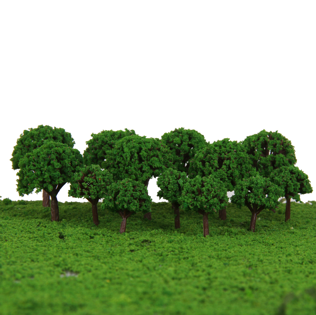 50pcs/lot 3cm Scenery Landscape Train Model Trees Light Green 1/500