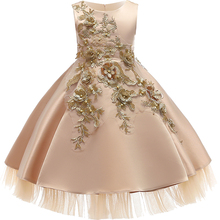 2019 Baby Girls Infant Embroidery Dress kids Gold Wedding To