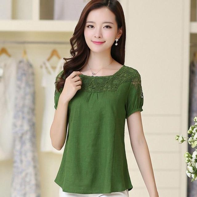 f8306b86baca4 Linpeihan blusa moda manga corta de verano Blusa de encaje blusas de lino  blanco tops camisa mujeres más tamaño en Blusas y camisas de La ropa de las  ...