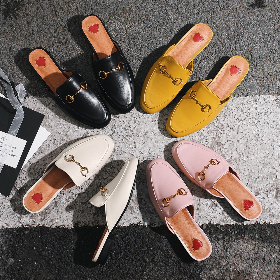 Women Autumn Summer Chains Mules Fashion Flat Heel Slip On Slides Real Cow Leather Slippers Loafer Women shoes phyanic fashion women s slide on slip on mule star bee embroidery loafer flats shoes slides slippers new woman mules outside