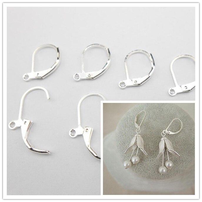 100PCS 925 Sterling Silver Beadings Findings Earring Hooks Leverback Earwire