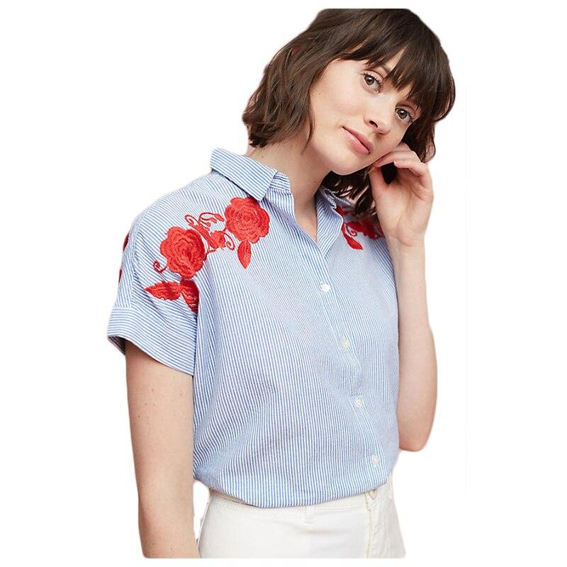 Женская Мода Новые летние Повседневное короткий рукав красный цветочный Вышивка сине-белые полосатый принт офисная одежда блузка рубашка ...